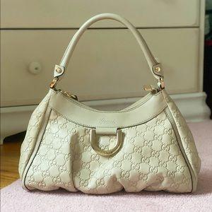 Gucci White Ivory Leather Shoulder Bag